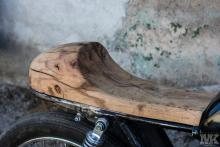 Honda Cb50 wood detail CafeRacer seat MotoKustoms
